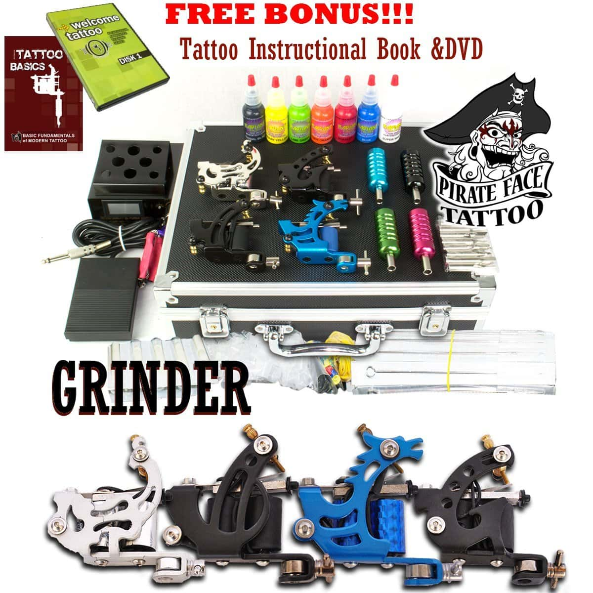 GRINDER Tattoo Kit by Pirate Face Tattoo / 4 Tattoo Machine Guns - Power Supply