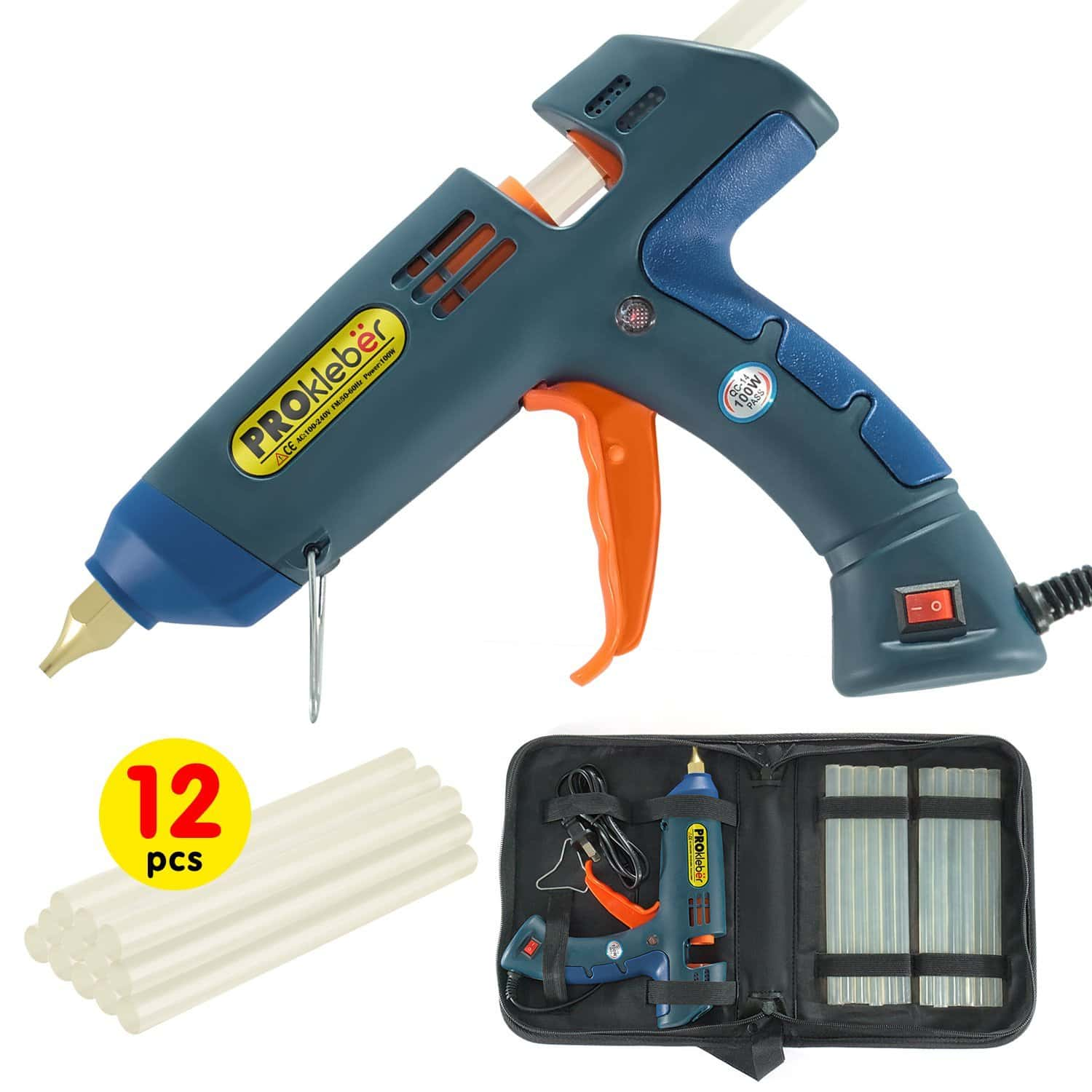 Hot Melt Glue Gun Kit 100 Watt with Carry Bag and 12 pcs Glue Sticks