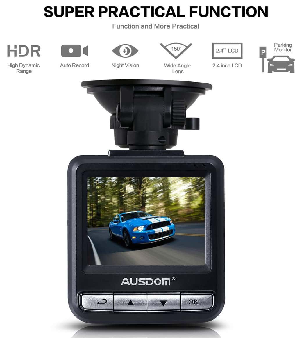 "Ausdom AD282 Dash Cam, 2.4"" LCD 2K Wide Angle Dashboard Camera Car Dvr with 1296 P Ambarella A7"