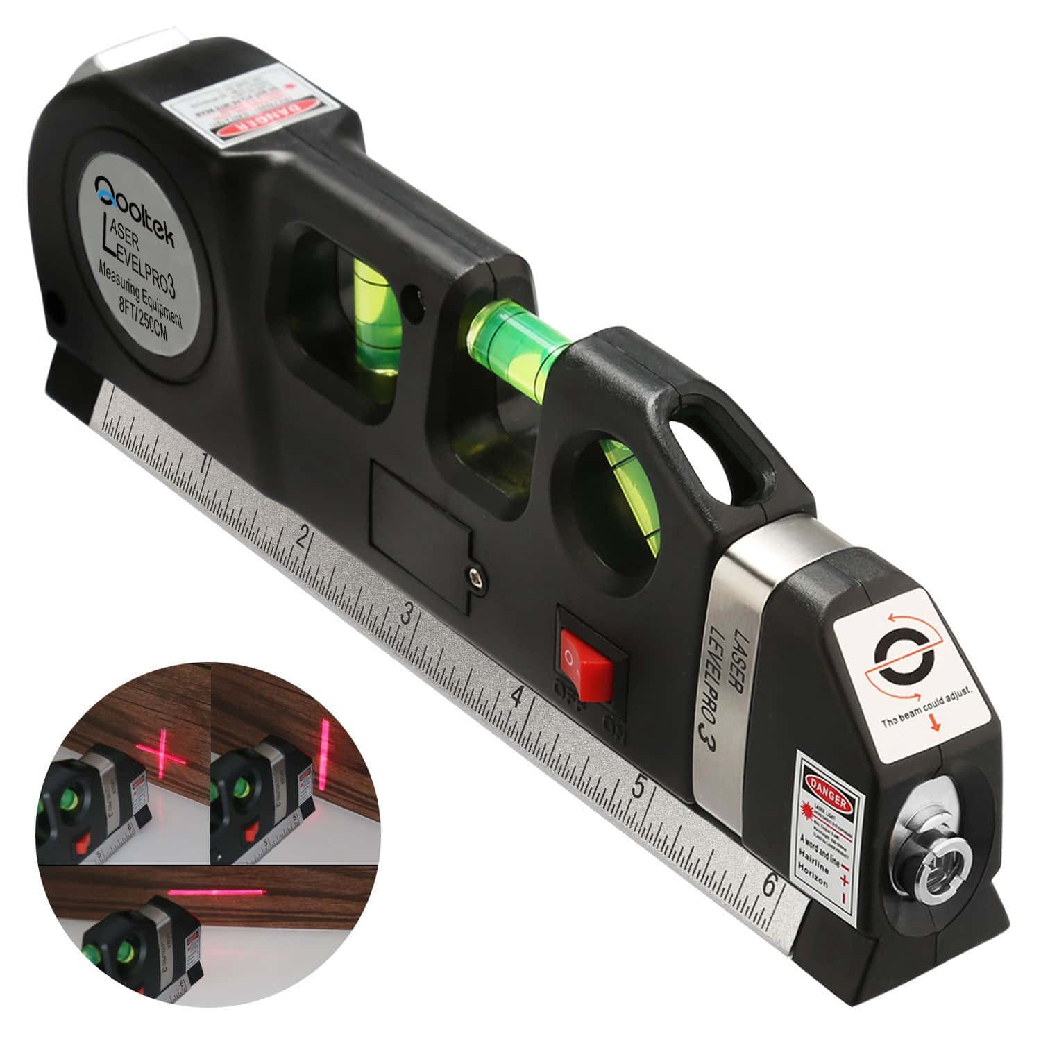 Qooltek Multipurpose Laser Level laser measure Line 8ft+ Measure Tape Ruler Adjusted Standard